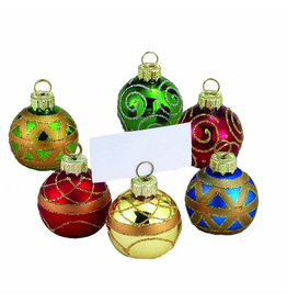 Kurt Adler Christmas Place Card Holders Ball Ornaments W Place Cards 6pc