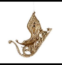 Kurt Adler Christmas Tree Ornament w Gold Glittered Sled