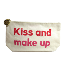 Twos Company Canvas Bag w Quote-Kiss and Make Up-Zippered Everything Bag