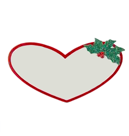 Kurt Adler Heart Name Tag w Sticky Back For Personalization