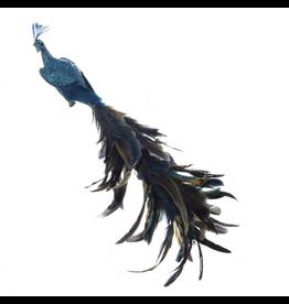 Kurt Adler Peacock Ornament 18in Bird Feathers w Glitter