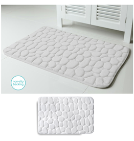 Harman Embossed Stone Micro-Plush Memory Foam Bath Mat 20x34 White