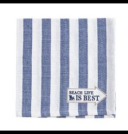 Cotton Napkins Set of 4 18x18 Stripe w Beach Life is Best