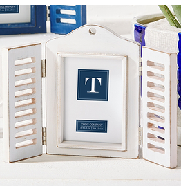 Twos Company Open Close Shutter 4x6 Photo Frame White by Twos Company