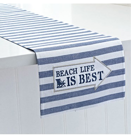Harman Table Runner Reversible 13x72 Stripe w Beach Life is Best