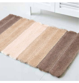 Harman Nova Micorfiber Plush Bath Mat Rug 17x24 Taupe Stripes