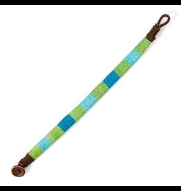 Twos Company Ojai Bracelet Cotton Wrist Band 8.5 Inch Blue Green Aqua