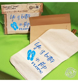 Postcard Towel Postcard Towel Mailable Tea Towels - Life Is Better in Flip Flops