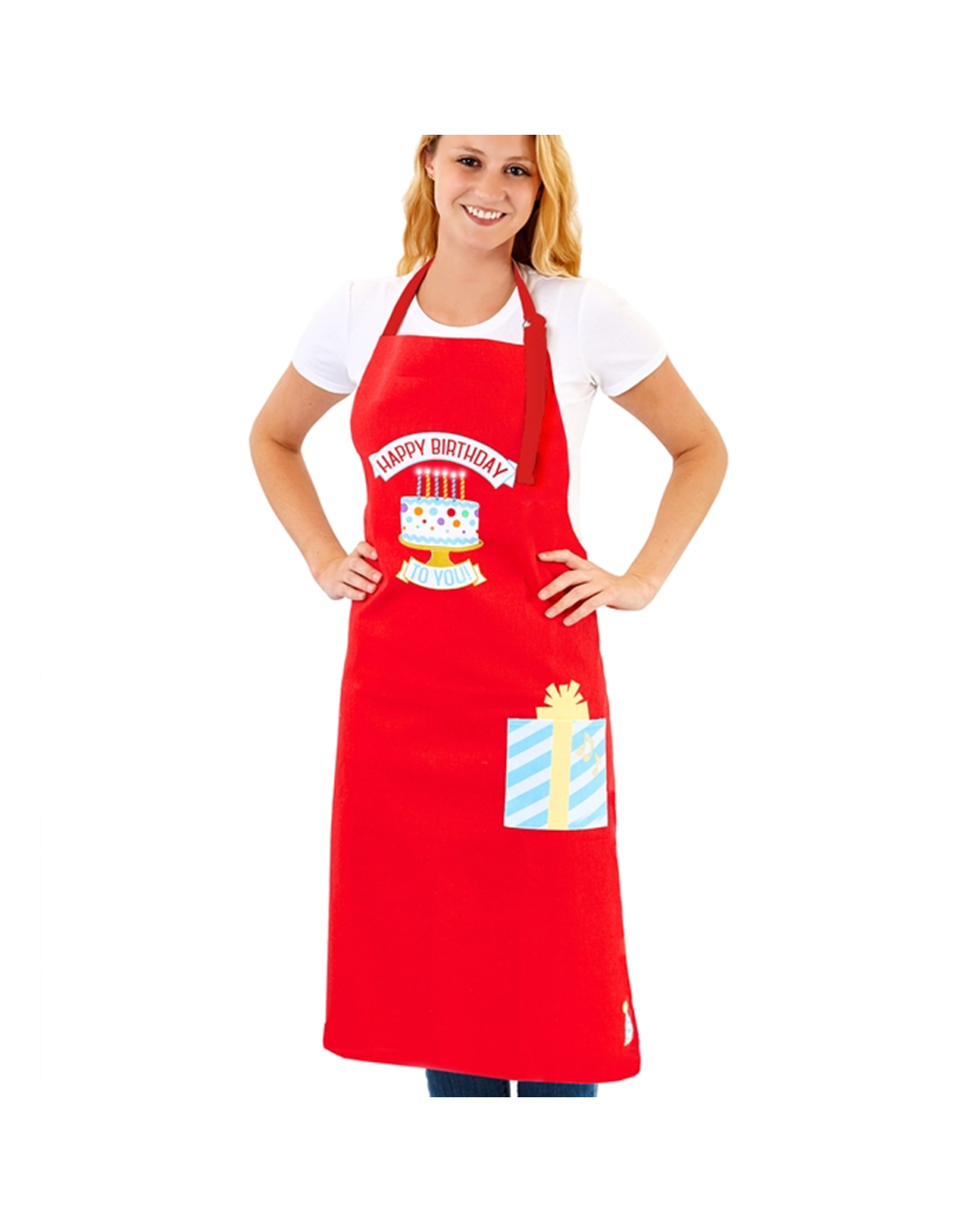 Twos Company Light Up Musical Happy Birthday Apron Cotton 41x36 Digs N Gifts