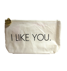 Twos Company Canvas Bag w Quote-I Like You-Zippered Everything Bag