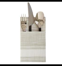 Bistro Cutlery Holders Set of 2 Vinyl 4x7 White Stripes
