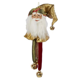 Kurt Adler Santa Head-Santa Face Christmas Ornament w Bells