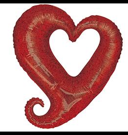 Burton and Burton Linky Metallic Heart Shaped Foil Balloon Oversized 37 inch Red