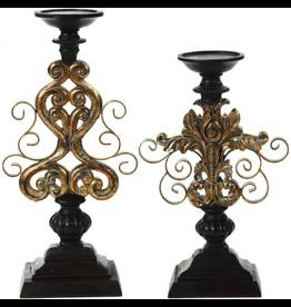 Mark Roberts Stylish Home Decor Filigree Pedestal Candle Holders Set