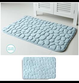 Embossed Stone Micro-Plush Memory Foam Bath Mat 20x34 Aqua