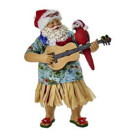 Kurt Adler Fabriche Beach Santa Tablepiece w Parrot on Guitar