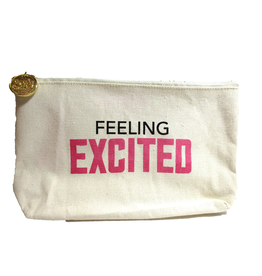 Twos Company Canvas Bag w Quote-Feeling Excited-Zippered Everything Bag