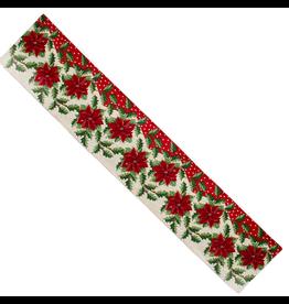 Kurt Adler Christmas Table Runner Poinsettia Design 71 inch