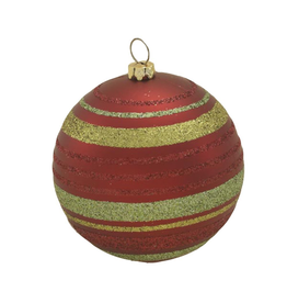 Kurt Adler Shatterproof Glitter Stripe Ball Ornament Set
