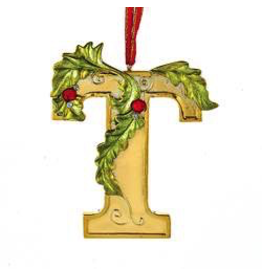Kurt Adler Gold Initial Ornament With Holly Accents 3.5 Inch Letter T