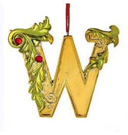 Kurt Adler Gold Initial Ornament With Holly Accents 3.5 Inch Letter W