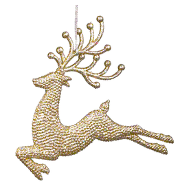 Kurt Adler Champagne Gold Diamond Glitter Reindeer Leaping Ornament