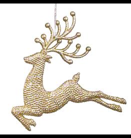 Kurt Adler Gold Diamond Glitter Reindeer Ornament 6 inch Deer Leaping