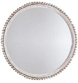 Mud Pie Round White Washed Beaded Mirror 10 Inch