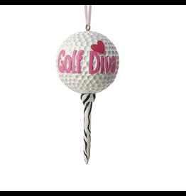 Kurt Adler Oh Christmas Tee Lady Golf Ball Ornament-Golf Diva