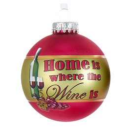 Kurt Adler Wine Ball Ornament 80MM w Home Is Where The Wine Is