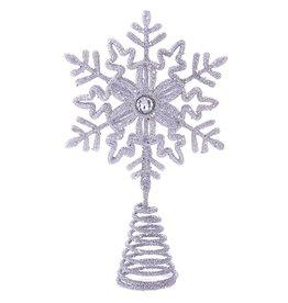 Kurt Adler Glittered Snowflake Christmas Tree Topper 5 Inch SILVER