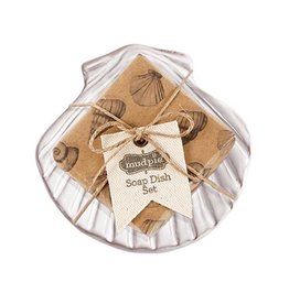 Mud Pie Fan Shell Soap Dish Set With Sandlewood Scented Soap