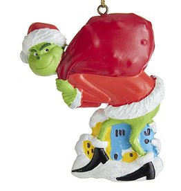 Kurt Adler The Grinch™ Santa Grinch Tip Toeing W Sack Ornament 3 Inch