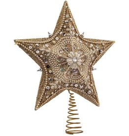 Kurt Adler Platinum Glass Glitter Star Christmas Treetop Tree Topper 13.5 Inch
