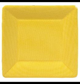 Caspari Square Paper Salad Dessert Plates 8pk Grosgrain Yellow