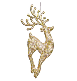 Kurt Adler Champagne Gold Diamond Glitter Reindeer Jumping Up Ornament