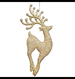 Kurt Adler Gold Diamond Glitter Reindeer Ornament 7 inch Deer Jumping Up