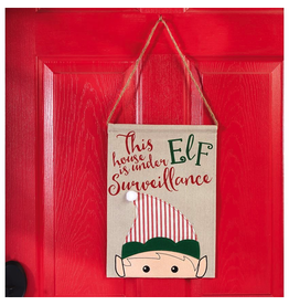 Mud Pie This House is Under Elf Surveillance Christmas Door Hanger 14x10 inch