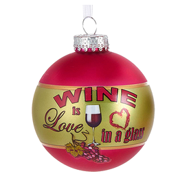 Kurt Adler Wine Ball Ornament 80MM w Wine Is Love In A Glass