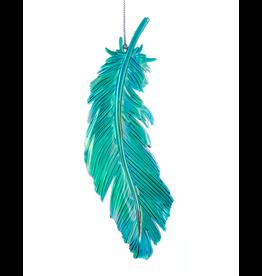 Kurt Adler Acrylic Iridescent Peacock Bird Feather Ornament - G