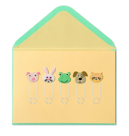 PAPYRUS® New Baby Card Animal Safety Pins