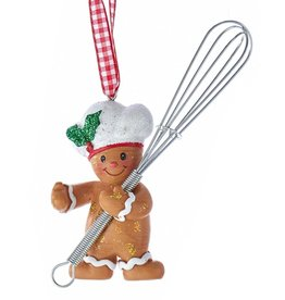 Kurt Adler Gingerbread Chef Boy Utensil Ornament Holding Whisk