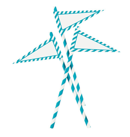 Party Straws w Banners 12Pk Aqua and White by Party Partners