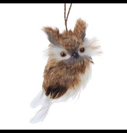 Kurt Adler Brown White Horned Owl Christmas Ornament 4 inch - A