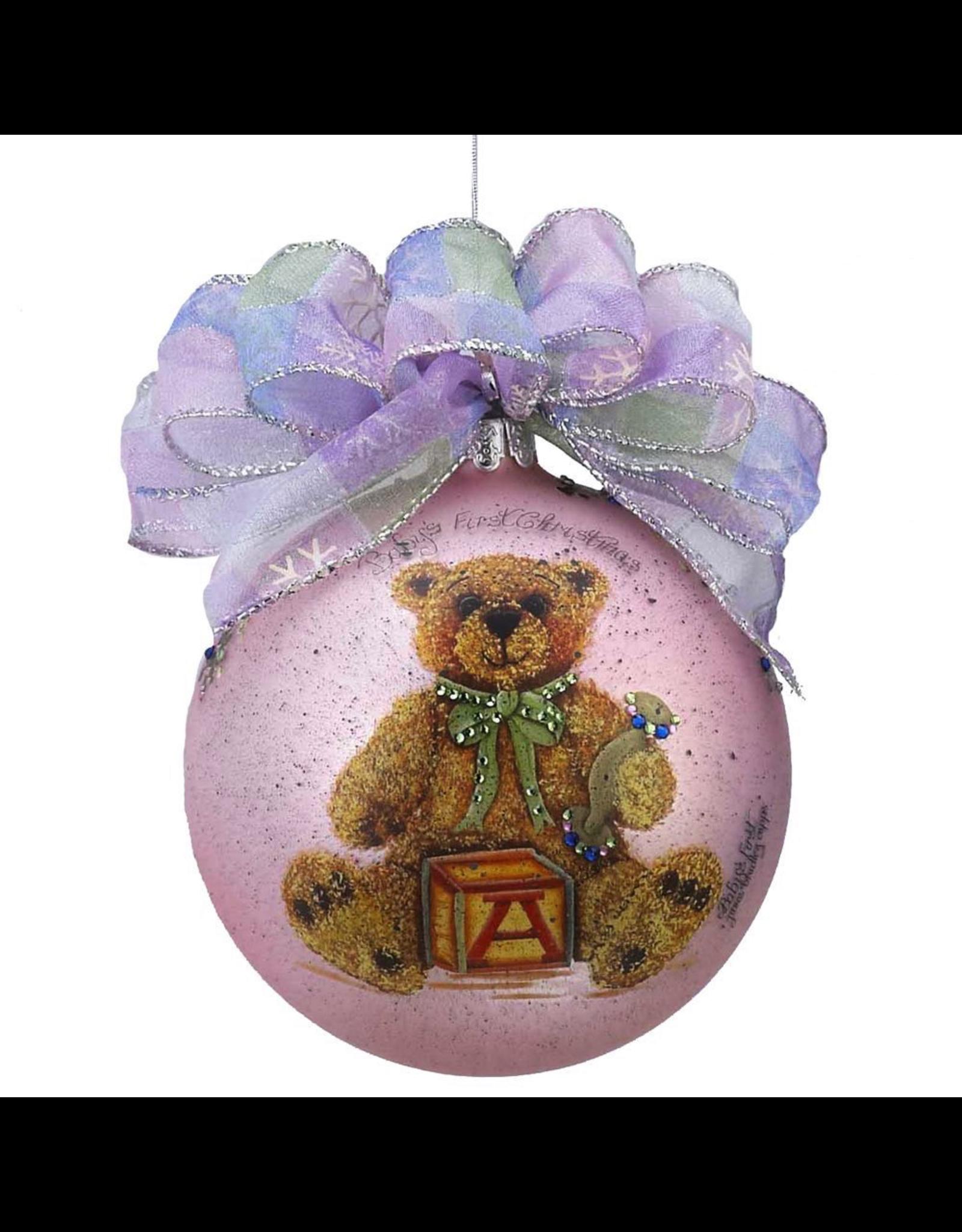 Kurt Adler Babys 1st Christmas Ornament Baby Girl Pink W Teddy Bear