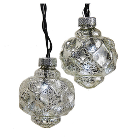 Kurt Adler Christmas Lights Battery-Operated LED 10L 2.35in Silver Lantern Balls