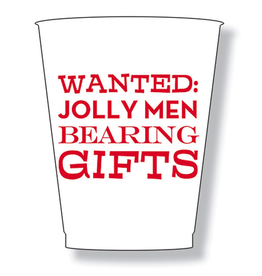 Slant Christmas Party Frost Flex Cups 16oz Wanted Jolly Men Bearing Gifts