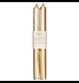 Caspari Crown Candles Tapers 10 inch 2pk Metallic Gold