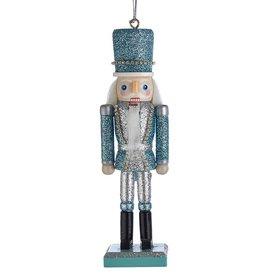 Kurt Adler Glitter Silver Blue Nutcracker Ornament 6 Inch Blue Hat