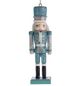 Kurt Adler Glitter Silver Blue Nutcracker Ornament 6 Inch Blue Silver Hat